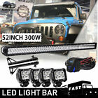 52INCH 300W LED Work Light Bar+4x Pods+Mount Bracket+Wiring For Jeep Wrangler JK