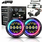 7inch 75W RGB Halo Ring Bluetooth APP LED Headlight for Jeep Wrangler JK 2pcs