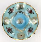 Vintage Murano Italy Blue Green Art Glass Bowl Dish Lg Roses Cameo Gold MCM 14
