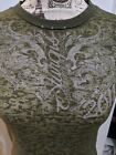 Womens 2011 Sturgis Motorcycle Rally T Shirt Sz XL Olive Green See Through Sexy