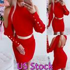 US Sexy Party Bodycon Bandage Dress Women Off Shoulder Backless Pencil Dresses