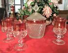 Vintage Indiana Glass Diamond Point Ruby Wine Decanter and glasses w/ice bucket