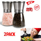 Salt and Pepper Grinder Set Stainless Steel Glass Ceramic Mills Shakers