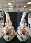 Vtg Pair Of Milk Glass Single Stem Long Curved Neck Hand Painted Floral Vase