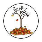 48 CUTE FALL AUTUMN TREE STICKER LABEL ENVELOPE SEALS 12 ROUND