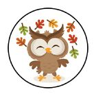 48 CUTE FALL AUTUMN OWL STICKER LABEL ENVELOPE SEALS 12 ROUND
