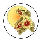 48 FALL AUTUMN HARVEST MOON FLOWERS STICKER LABEL ENVELOPE SEALS 12 ROUND