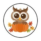 48 FALL AUTUMN OWL PUMPKIN STICKER LABEL ENVELOPE SEALS 12 ROUND