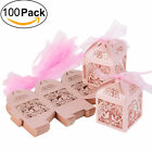 100Pink Hollow Bird Style Wedding Love Favor Heart Candy Gift Boxes
