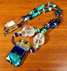 Handmade Dichroic Fused Glass Pendant With Beaded Sterling Silver Necklace 19