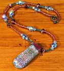 Handmade Dichroic Fused Glass Pendant With Beaded Sterling Silver Necklace 18