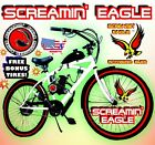 80cc Gas Motor COMPLETE SCREAMING EAGLE ENGINE WITH A 26 BIKE BICYCLE MOPED KIT