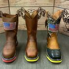 MENS WORK STEEL TOE BOOTS AMERICAN FLAG STYLE SOFT LEATHER INSIDE SHAFT SAFETY