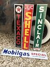 Antique Vintage Old Style Texaco Shell Sinclair Mobilgas Signs Lot Of 4