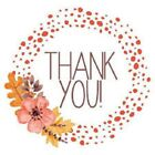 48 THANK YOU CUTE FLOWERS WREATH STICKER LABEL ENVELOPE SEAL 12 ROUND