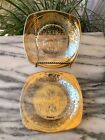 2 Jeanette Louisa Floragold Marigold Carnival Glass 5-1/4