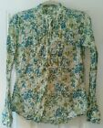 J Crew Womens Popover Shirt floral print blue green white ruffle pintucked M