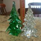 2 Vintage Art Glass Christmas Tree Decor Paperweight Green Enesco Clear