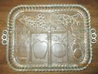 Vintage Indiana Clear Glass Handled Divided Fruit Tray~Unique flaw in glass~