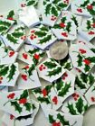 SHARDS OF HOLLY BERRY  40 BROKEN CHINA PLATE MOSAIC TILES Winter Christmas