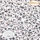 800PCS Acrylic White Round Letter Alphabet Beads with 25M Elastic String Cord