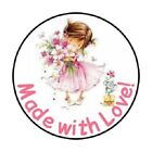 48 MADE WITH LOVE CUTE LITTLE GIRL STICKER LABEL ENVELOPE SEALS 12 ROUND