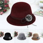 Vintage Fashion Hat Women Crushable Felt Outback Hat Panama Wedding Classic Hat