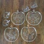8 pc Vintage Hazel Atlas Apple Blossom Glass Snack trays Plates and cups (CL21)