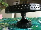 8'' LE Smith Black Glass Hobnail Round Cake Plate Stand Marked 2004 Cupcakes