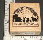 THE LORD IS MY SHEPHERD 1989 Religious PSX Rubber STAMP Psalm 23 Prayer