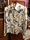 Vintage Versace Jeans Couture Multi Colored Rayon Long SLeeve Shirt Top