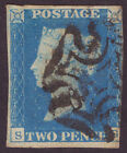 2d Blue 1840 July Plate 2 Pale blue shade DS9 Fine M C clear of profile