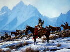 Native Americans Horses Snow Mountains Art Indians Print POSTER US