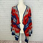 Rock  Roll Cowgirl Red Blue Aztec Native OpenFront Sweater Size Medium Cardigan