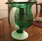 Antique Blown Glass Green Pitcher Applied Milk Glass Handle and Base