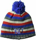 adidas NCAA Kansas Jayhawks Adult Men Textured Beanie Pom, One Size, Royal