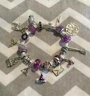 HARRY POTTER Euro style PURPLE CHARM BRACELET 22 charms  beads NEW CHARMS