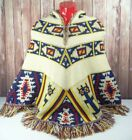 Vintage Sabra 70s Western Native American Knit Poncho Sweater Womens Hooded Wool