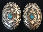 Very Large Navajo Sterling Silver Turquoise Oval Concho Earrings Leander Tahe