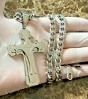 18 40 MENs Stainless Steel BIG Silver Cross Charm Pendant Cuban Chain Necklace