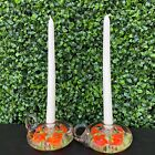 Vintage St Clair Set of 2 Glass Trumpet Flower Glass Paperweight Candle Holders