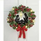 Christmas Lighted Nativity Scene Wreath Wall Hanging Decoration Door Ornaments