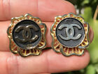 Authentic Vintage Chanel Double CC Logo Gold Tone  Black Post Earrings