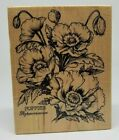 PSX Poppies flower floral botanical wood mounted rubber stamp K 1613 USA 1995