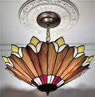 Vintage Tiffany Style Stained Slag Glass Hanging Ceiling Light Chandelier Lamp