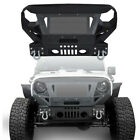 Front Bumper w Grille Guard Black Textured Steel for 2007 2018 Jeep Wrangler JK