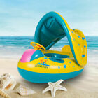 USA Girl Baby Swim Ring Inflatable Toddler Float Swimming Pool Water Seat+Canopy