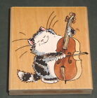 CELLOIST Cat Playing Cello Music MARGARET SHERRY 2002 PENNY BLACK Rubber STAMP