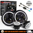 7Inch Round LED Headlights Halo Angle Eyes + 4 Fog Lights For Jeep Wrangler JK