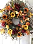 Autumn Harvest Fall Leaves Gourds Wall Door Large Twig Wreath Huckleberry
